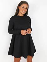 Женское летнее весенне свободное платье колокольчик короткое беж черный бордо красный 42-44 46-48 креп дайвинг