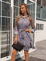 Женское летнее весенне свободное платье рубашка на пуговицах с поясом полоска черно белое 42-44 44-46 софт