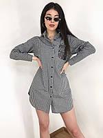 Женское летнее свободное платье рубашка на пуговицах с карманом клетка черно белое 42-46(неполный)