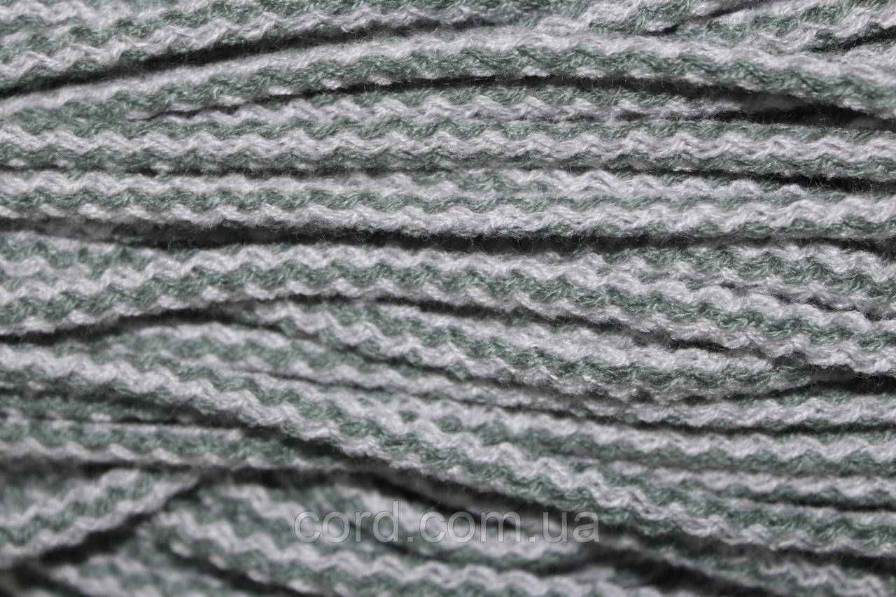 Шнур круглый 6мм акрил 100м серый + серо-зеленый
