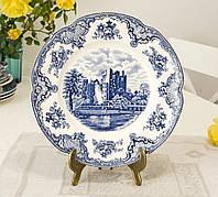 Коллекционная сине-белая фарфоровая тарелка, Англия, Johnson Brothers, Old Britain Castles, фото 1