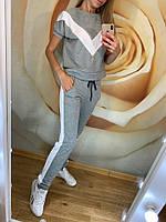 Женский летний спортивный костюм двухнитка с полосками и коротким рукавом черный, серый, бордо 42 44 46 48