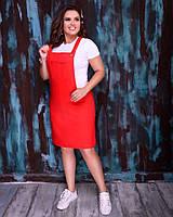 Женский сарафан летний из полированного льна в наборе с футболкой (Норма и батал), фото 5