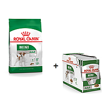 АКЦІЯ! 24 пауча вологого корма в ПОДАРУНОК! Корм для собак Royal Canin Mini Adult (Роял Канин Мини эдалт) 8 кг