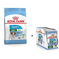 АКЦІЯ! 24 пауча вологого корма в ПОДАРУНОК! Корм для щенков Royal Canin Mini Puppy (Роял Канин Мини Паппи) 8кг