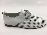 Кожаные летние туфли женские низкий ход, фото 1