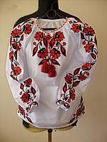 Блуза вишита дівоча,тамбурна рослинна вишивка