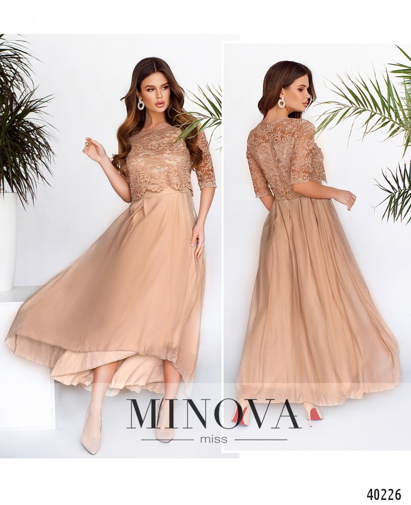 Элегантное женственное платье с кружевным лифом и укороченным спереди подолом ТМ Минова Размер: 42,44, 46