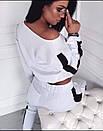 Линда Женский спортивный прогулочный костюм с карманами на штанишках М-ка белый, фото 2