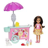 Набор Барби кукла Челси и тележка мороженного Barbie Club Chelsea Doll and Ice Cream Cart SKL52-241095