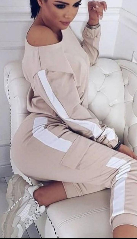 Линда Женский спортивный прогулочный костюм с карманами на штанишках М-ка бежевый