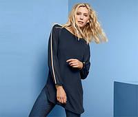 Стильная летняя блуза двухслойная темно-синего цвета Tchibo (размер RU 50), фото 1