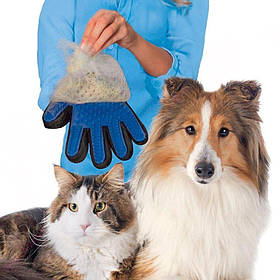 Перчатка для вычёсывания шерсти кошек и собак True Touch на правую руку, на липучке, Перчатка для собак, Груми