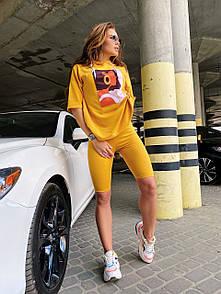 Женский летний костюм с велосипедками и свободной футболкой с рисунком 4ks631