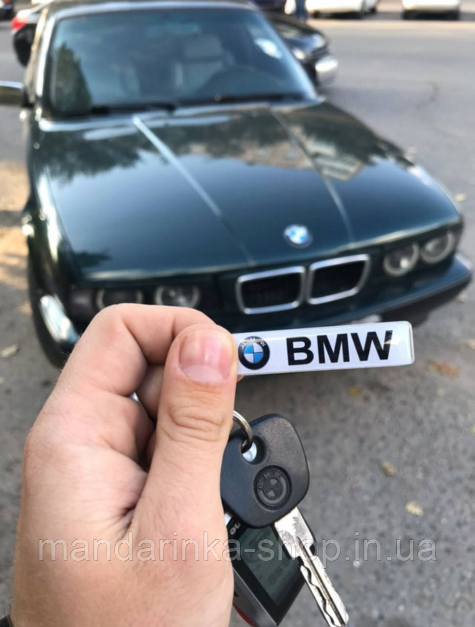 Брелок с номером (стандарт XL)  логотип BMW, брелок с фамилией