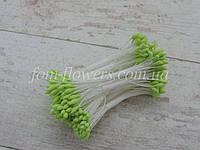 Тайские тычинки салатовые каплевидные на белой нити, фото 1