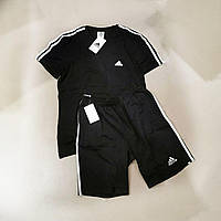Мужской спортивный костюм летний Adidas черный, комплект футболка и шорты