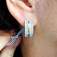 Серебряные серьги c золотом и камнями  - Серебряные родированные серьги  с усыпкой фианитами, фото 3