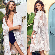 Кружевная пляжная накидка из сеточки белая Пляжный гипюровый халат прозрачный на завязках 146-33