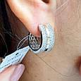 Серебряные серьги c золотом и камнями  - Серебряные родированные серьги  с усыпкой фианитами, фото 4