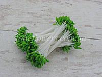 Тайські тичинки зелені краплеподібні на білій нитці, фото 1