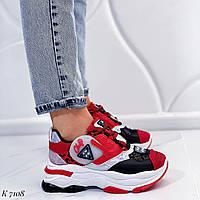 Женские красные кроссовки / эко кожа + текстиль