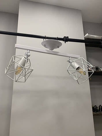 Потолочная люстра с двумя белыми плафонами, фото 2