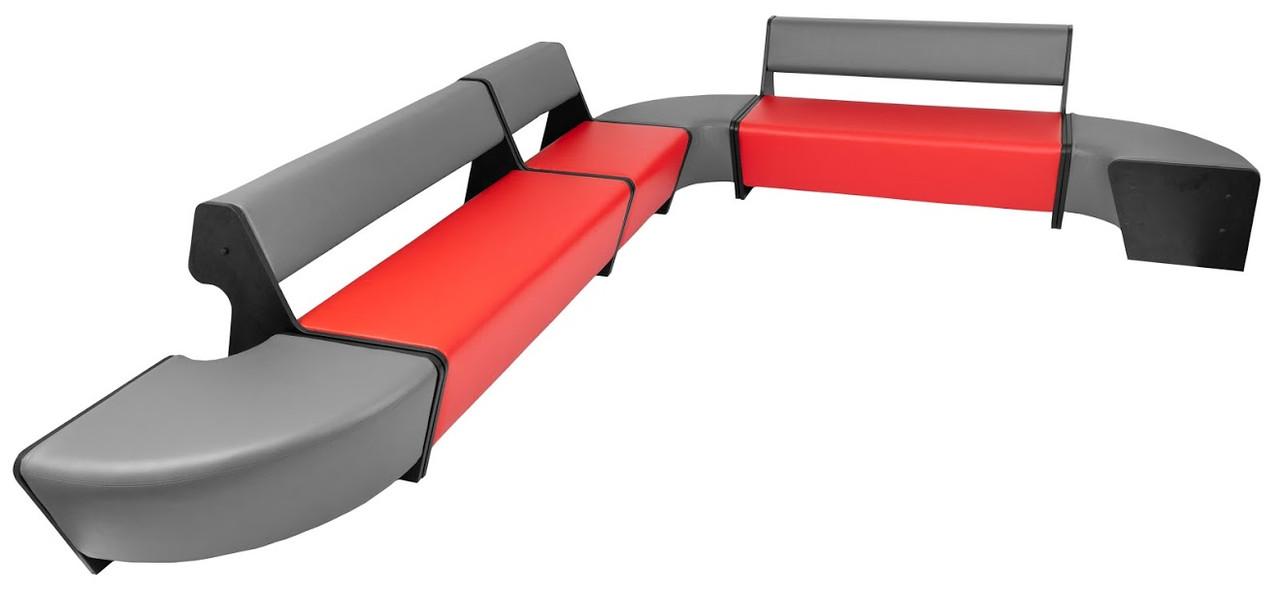 Модульный диван-трансформер Квант-1 Richman красно-серый кожзам