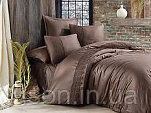 Комплект постельного белья сатин deluxe с вышивкой 200*220 TM Aran Clasy Giza шоколад