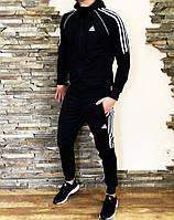Спортивный костюм мужской черный Adidas, комплект спортивный Адидас