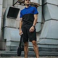 Спортивный костюм летний мужской черный с синим Nike, комплект футболка поло, шорты, барсетка