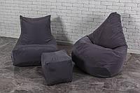 Кресло мешок груша пуф (серый набор мягкой бескаркасной мебели)