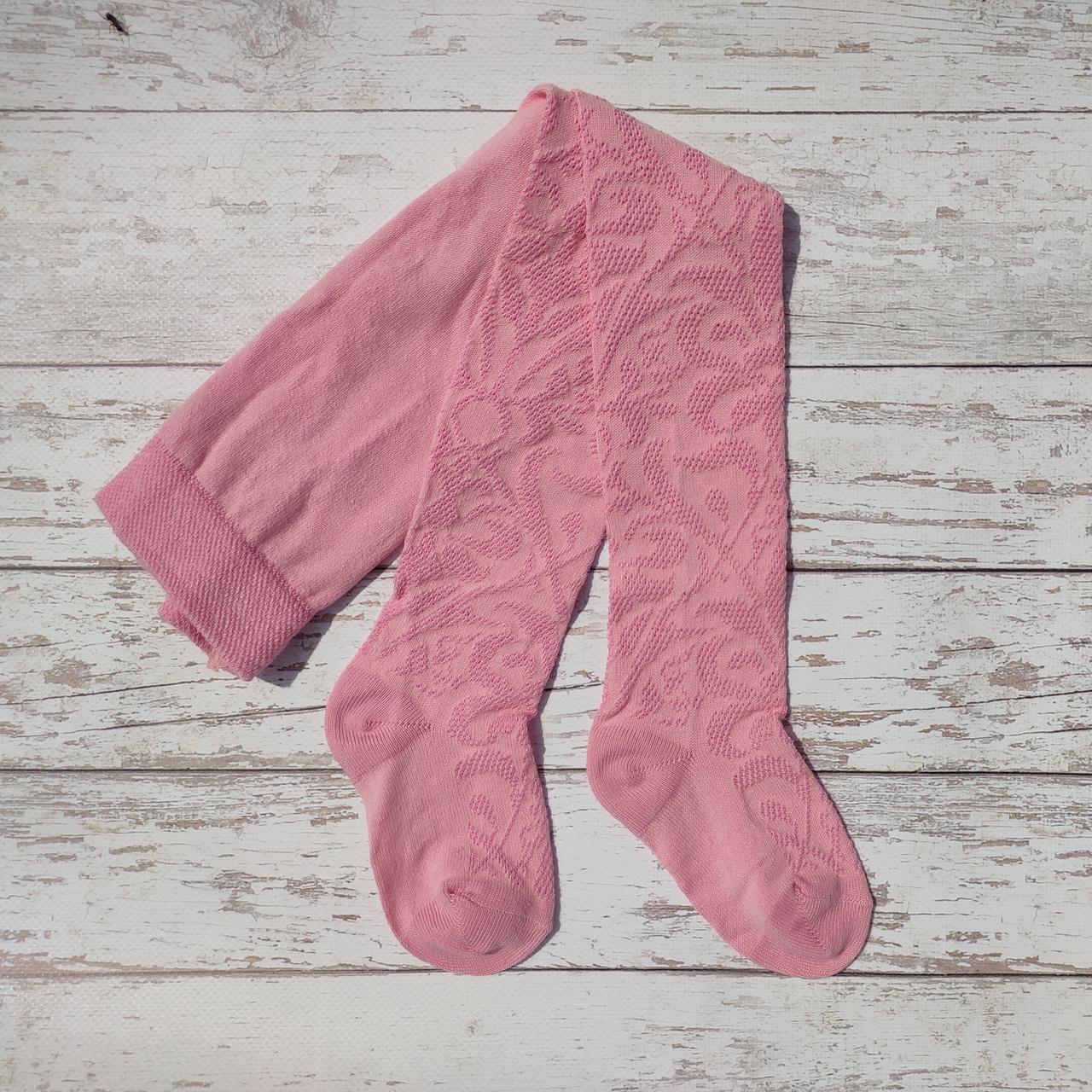 """Розовые детские демисезонные колготки ТМ """"Дюна"""" с нежным узором. Размер: 74-80"""