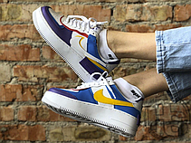 Женские кроссовки Nike Air Force 1 Shadow White Blue Purple CI0919-025, фото 3