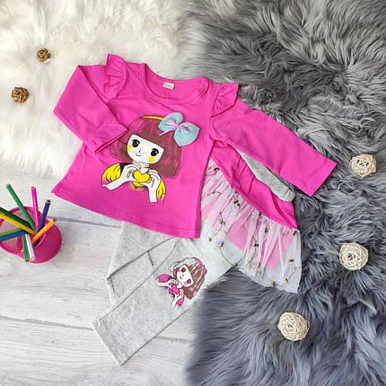 Нарядный костюм двойка на девочку малиновый 4 года  кофточка +лосинки с юбкой, фото 2