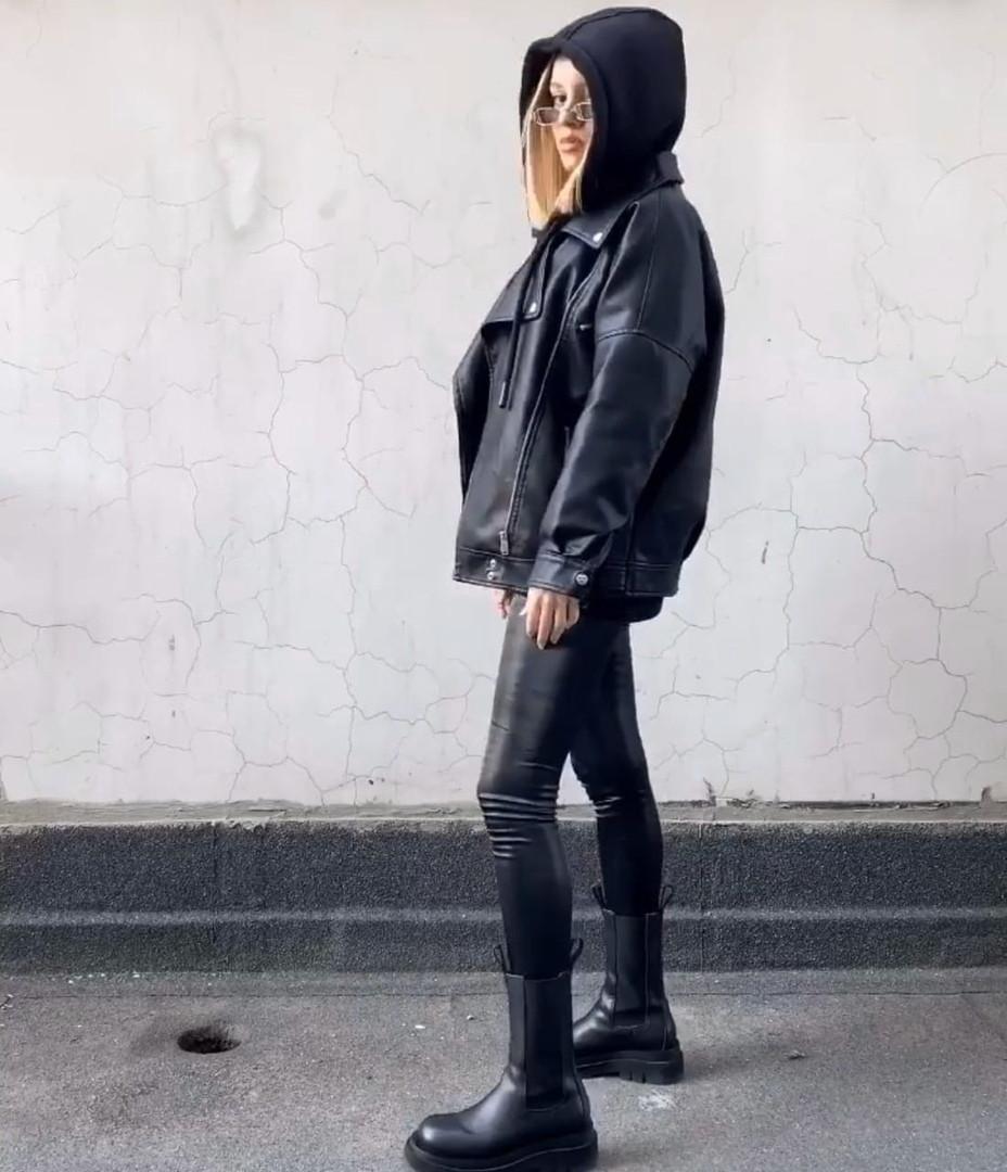 Женская кожаная куртка косуха из мягкой экокожи 68kur291