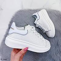 Шикарные белые кроссовки / эко кожа