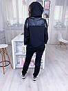 Женский спортивный костюм с удлиненным худи и вставками экокожи 17spt899, фото 3