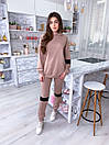 Женский спортивный костюм с удлиненным худи и вставками экокожи 17spt899, фото 5