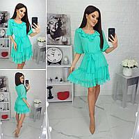 Платье шифон в горошек М0869