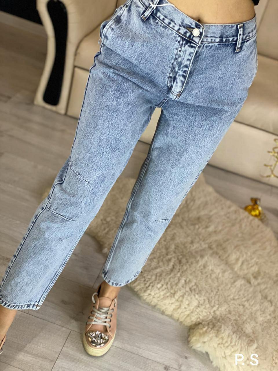 Женские джинсы МОМ из 100% коттона с резинкой на поясе 76bil470
