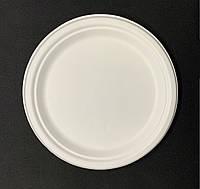 Тарелка одноразовая бумажная 17 см белая 125 штук Р07 Сахарный Тростник