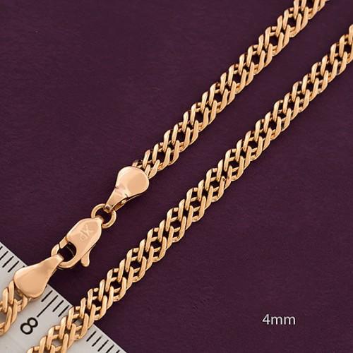Ланцюжок xuping 4мм 55см позолота 18к подвійний ромб ц684