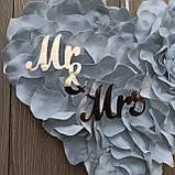 Біле серце з пелюсток троянди  з написами Mr & MRS., фото 4