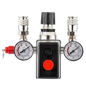 Прессостат 220В в сборе (прессостат, редуктор, 2 манометра, предохранительный клапан, два выхода) INTERTOOL PT-9094