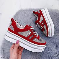 Роскошные красные кроссовки / Натуральный замш