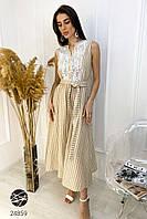Платье льняное с кружевом бежевого цвета. Модель 24859. Размеры 42-48