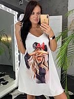 Летнее платье - майка трапецией с принтом на груди 58mpl1096, фото 1