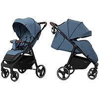 Детская прогулочная коляска синяя с дождевиком черная рама CARRELLO Bravo CRL-8512 Pacific Blue