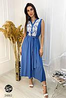 Платье льняное с кружевом синего цвета. Модель 24862. Размеры 42-48